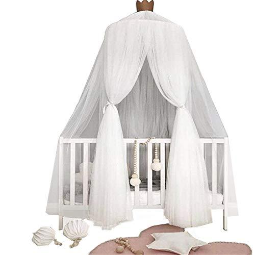 Betthimmel Baldachin fürs Kinderzimmer, kuppelförmig Baumwollgarn, Insektenschutz (Weiß)