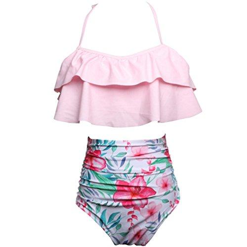 Jeelinbore costumi da bagno due pezzi madre e figlia bikini a vita alta famiglia abiti coordinati spiaggia stampato monokini (pink/floreale, m)