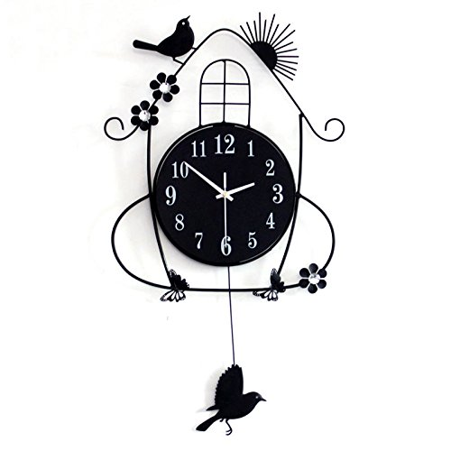 ZHUNSHI 20 Cm Bois Noir Jardin Horloge Murale Mute Oiseau Décoratif Swing Réveil pour Salon Chambre À Coucher