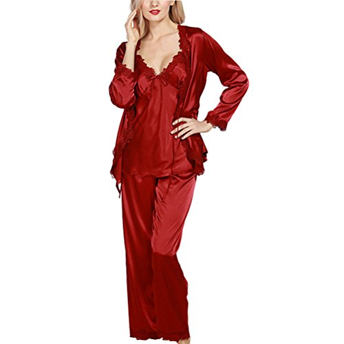 Zhhlaixing Womens Ladies Lace Satin Set Nightwear Pyjamas Wine Red
