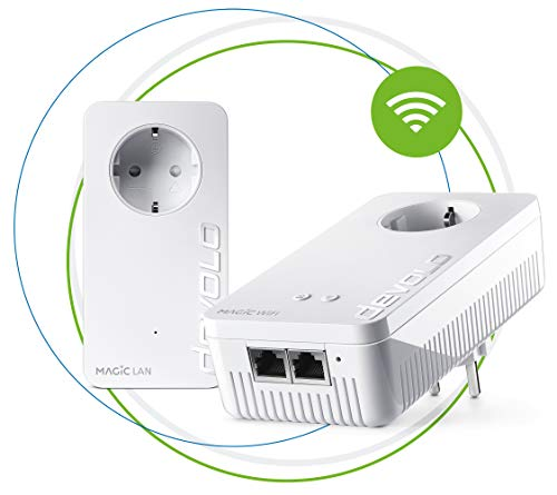 Devolo Magic 2 Wifi: Fantastisches Powerline-Starter Kit mit WLAN-Funktion, bis 2400 Mbit/s Wifi AC, 2x Gigabit LAN-Anschluss pro Adapter, integrierte Steckdose, Mesh WiFi, Access Point, weiß