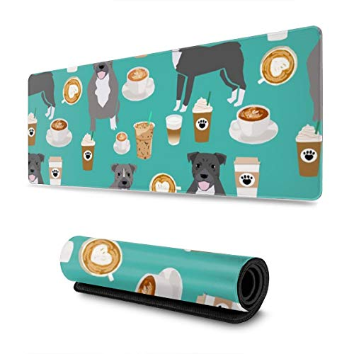 Soft Gaming Mouse Pad Large Pitbull Grey Coat Coffee Latte Cafe Dog Breed Turquoise Non-Slip Rubber Base Soft Computer Keyboard Mice Mat