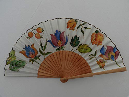 Abanico español/abanico pintado a mano/Abanico flores indias/Abanico de madera/Abanico artesanal/Abanico pintado por...