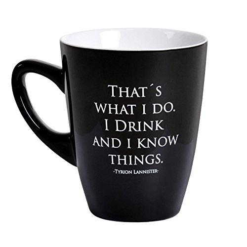 Game of Thrones Tasse Tyrion Lannister Drink And Know Things von Elbenwald Keramik schwarz
