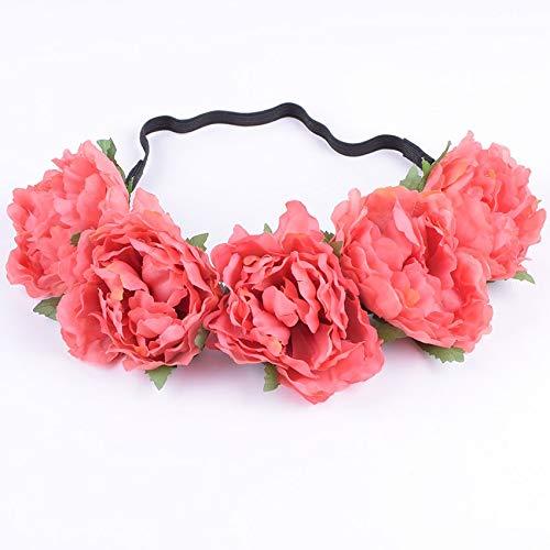 Fang-denghui, Stoff Pfingstrose Wildflower Stirnband Headwrap Elegante Blume Krone romantische Brautjungfer Floral Krone Boho rustikale Hochzeit (Color : 8) -