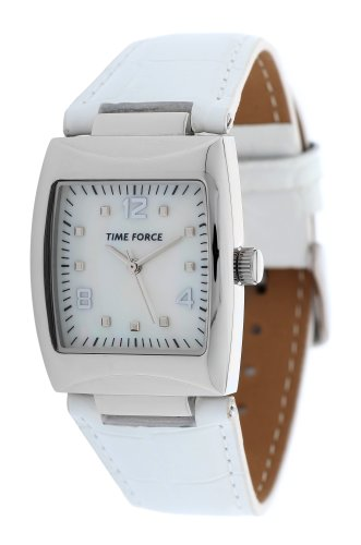 Reloj TIME FORCE de señora. Acero. Correa de piel blanca Esfera nácar. TF-4083L02