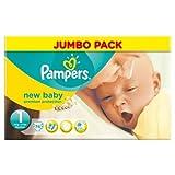 Pampers New Baby Lot de 74Couches Taille 1Jumbo par lot de 5