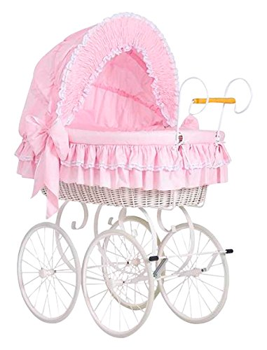 My Sweet Baby Retro Stil Weidenkörbchen (Pink) Wicker Krippe