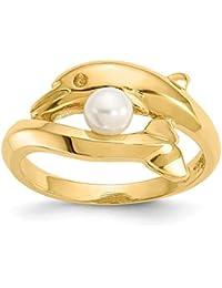 f2f4098f807f Hermoso oro amarillo 14 K 14 K pulido delfín con perla cultivada FW anillo  viene con