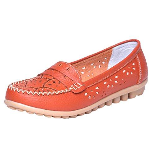 YAANCUN Femme Mocassins En Cuir Casuel Confort Chaussures Plates Loafers Chaussures De Conduite Orange