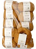 Rowan 500g Wollpaket, 10x50g Cotton Lustre 377 marygold, edles Baumwollgarn mit Modal und Leinen zum Stricken und Häkeln, Wolle Paket Restposten