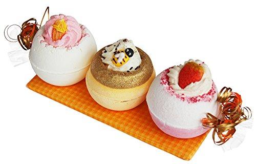 Geschenkset - Eiscreme - mit 3x Badebombe, Badevergnügen pur, das Badekugel Set mit Sprudel Badezusatz