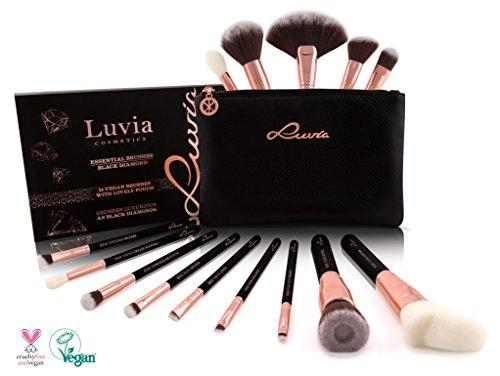 Luvia Kosmetikpinsel-Set Mit Tasche - Black Diamond Make-Up Brush Set - Inkl. 14 Schminkpinsel & Pouch In Schwarz/Rosegold - Liebenswertes Weihnachtsgeschenk für Frauen