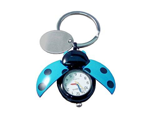 personnalisé gravé Bleu Coccinelle montre Porte-clés en velours Pochette cadeau Ref – O24-blu-k