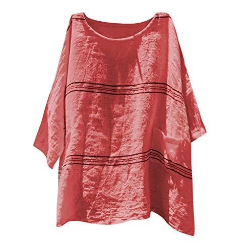 CAOQAOO T-Shirt Rundhals Ausschnitt Damen Sommer Damen Baumwollleinen Bluse Damenmode Lose Baumwolle Leinen Streifen Plus Size TäGlich Freizeithemd Bluse Tops (Kostüm Biene Plus Size)