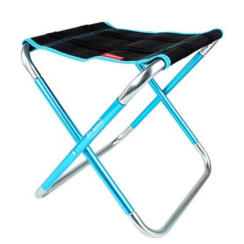 Tabouret de pêche en Aluminium Plein air Se Pliant de Chaise de Pliage portatif Plein portatif de Chaise de Banc de Train de Chaise Mazar, 25x31x30cm (Couleur : Bleu)