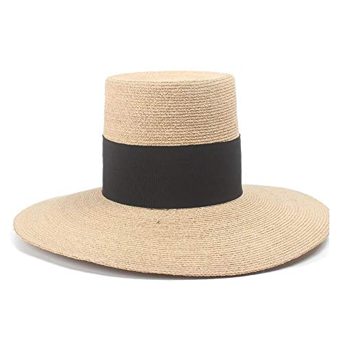 Hüte Hipster Sonnenhut Lafite Hochwertiger Strohhut Damen Strandurlaub Große Flügelkappe Strandhut Übergroßer Hut (Farbe : Light Khaki, Größe : 56-58CM)