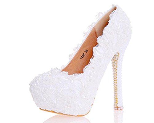 Kitzen donna bianca pizzo fiori scarpe corte scarpe da sposa sposa da sposa abito da damigella d'onore scarpe moda stiletto confortevole, 35 (jan pinelli)