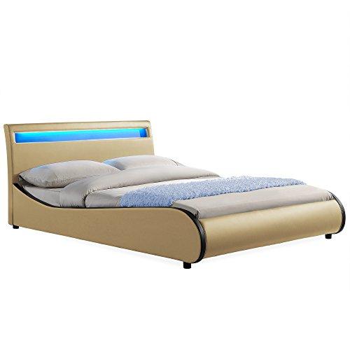 Corium LED Polsterbett Valencia (beige)(180x200cm) Modernes Bett/Kunst-Leder/mit Stecklattenrost /