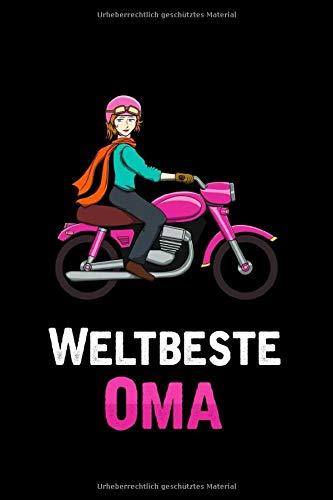Lustiges Oma Motorrad Geschenk: Notizbuch / Notizheft mit einer coolen Oma die Motorrad fährt im Comic Cartoon Style -in A5 (6x9in) dotted Punktraster