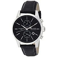Hugo Boss Men's Chronograph Quartz Watch With Leather Strap – 1513279, Black Band, One Size