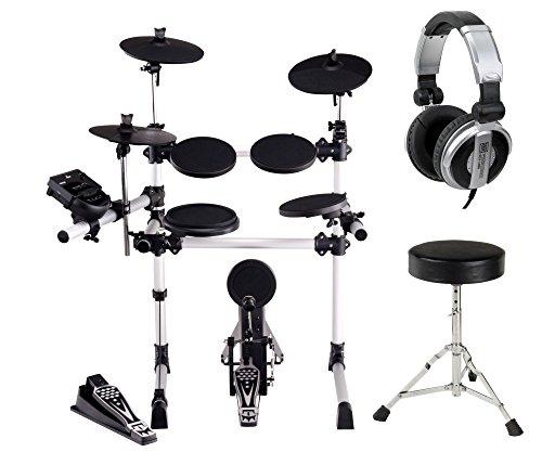 XDrum DD-430 E-Drum-Set Komplett Set inkl. Hocker und Kopfhörer (4 Drum Pads, 3 Cymbals, HiHat Pedal, Kick Pad mit Pedal, Crash-/Ride-Becken abstoppbar, USB, MIDI, AUX, Kopfhöreranschluss, inkl. Sitz)