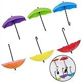 EQLEF® Ganci adesivi da parete, 6 pezzi di ganci da parete per ombrelli creativi decorativi per casa/ufficio-colore casuale