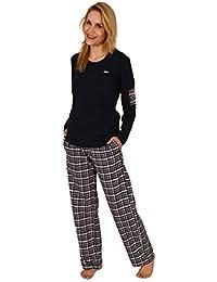709a230ffe5a4c Normann Copenhagen Damen Pyjama lang Mix & Match - Karierte Flanellhose und  Interlock Oberteil 201 96