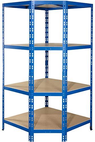 Eckregal für 60 cm tiefe Regale | ✓ 176,5x90x90x60cm | ✓ Hochwertig blau pulverbeschichtet | ✓ 4 Böden je max. 175 kg Tragkraft | ✓ Schwerlastregal Metallregal Lagerregal Kellerregal