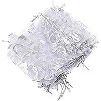 100 Stück Organzasäckchen Organza Beutel Tunnelzug Hochzeit Säckchen, Schmuckbeutel Drawstring Bags Für Süßigkeiten Taschen Geschenke Verpacken Silber-Pfirsich-Herzdruck-weiß