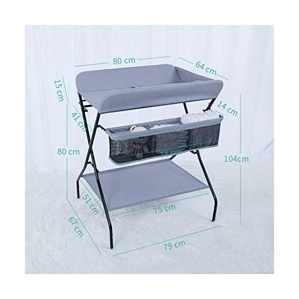 YRR Changing Table Folding Diaper Station Nursery Organizer for Infant YRR ★Made of rugged material, safe and sturdy construction, and quick and easy assembly design, it is also easy to wipe and clean, foldable, easy to carry, and can be deployed in seconds or indoors. Keep your baby safe ★Size: 80*67*104cm;Applicable baby age: 0~3 years old;Can carry weight: less than 25 kg;Material: Steel Pipe, high quality Oxford cloth ★Foldable design, easy storage, does not occupy space 9
