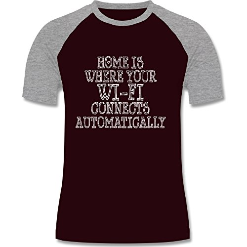 Nerds & Geeks - Wi-Fi Home - zweifarbiges Baseballshirt für Männer Burgundrot/Grau meliert