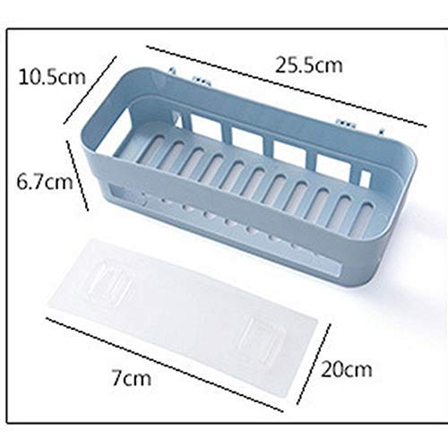 PICKVILL Plastic Inter Design Bathroom Kitchen Organize Shelf Rack Shower Corner Caddy Basket with Wall Mounted Super Adhesive Sticker (1pc) (Assorted Color)