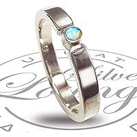 Verlobungsring Ring aus Sterlingsilber poliert mit Opal blaugrün - Vorsteckring, Antragsring, Stapelring - handgefertigt by SILVERLOUNGE