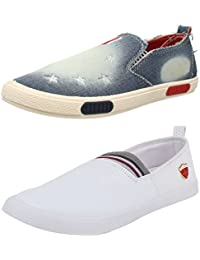 Chevit Men's Combo Pack Of 2 Blue And White Loafers & Moccassins (Casual Shoes)