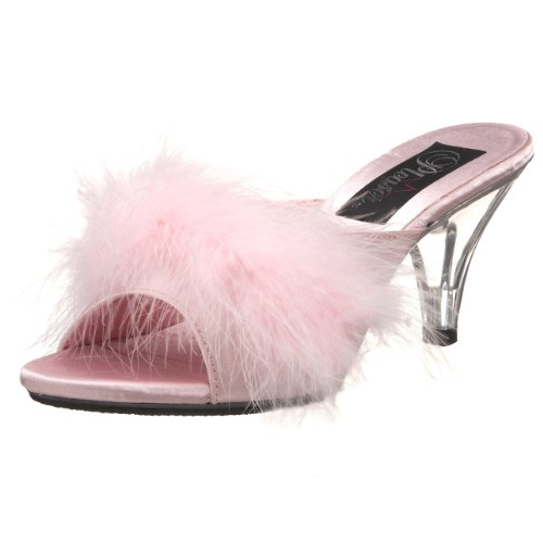 Pleaser BELLE-301F Damen Marabu Pantolette B. Pink Satin-Fur/Clr