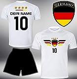 ElevenSports Deutschland Trikot Set 2018 mit Hose GRATIS Wunschname + Nummer im EM WM Weiss Typ #DE4th - Geschenke für Kinder Erw. Jungen Baby Fußball T-Shirt Bedrucken