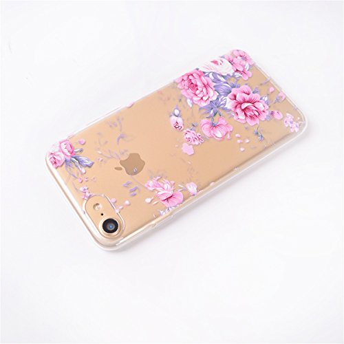 iPhone 7 Hülle, iPhone 7 Soft Hülle, Gift_Source [ Regenbogen-Geometrie ] Ultra Dünn Weiche Silikon Schutzhülle TPU Bumper Case Schutz Handy Hülle Case Tasche Etui Backcover Slim case für Apple iPhone E1-Pinke Rose