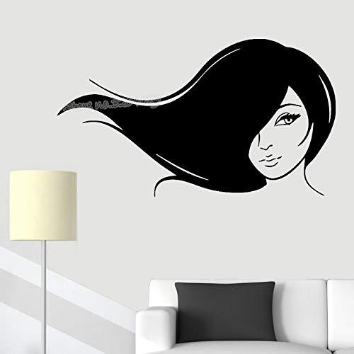 zqyjhkou Schönes Mädchen Fließende Lange Haare Wandaufkleber Frau Salon Spa Haar Dekor Schönheitssalon Friseursalon Frisur Designer Poster Ea122 97x56 cm