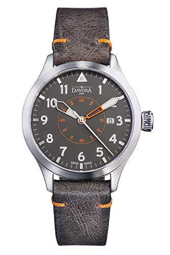 Davosa Automatic Neoteric Pilot Auto Transparent Case Back & Vintage Leather Strap Wrist Watch