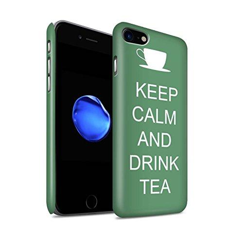 STUFF4 Matte Snap-On Hülle / Case für Apple iPhone 8 / Einkaufen Gehen/Braun Muster / Bleib Ruhig Kollektion Tee Trinken/Grün