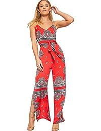 b7035ec3287e WearAll Women s Strappy Sleeveless Paisley Print Split Leg Jumpsuit Ladies  Belted Flared 6-14