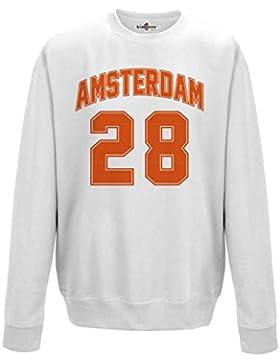 Felpa Girocollo Uomo Amsterdam 28 White