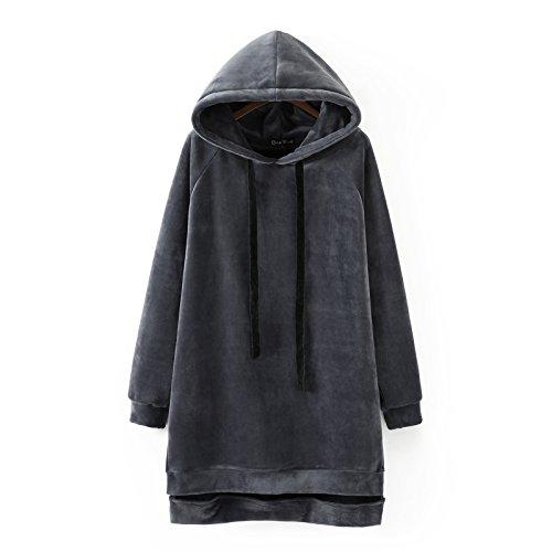 DYF Sweats à Capuche Femme manches longue tresse Chapeau de milieu-Longueur poche épaissi Grey