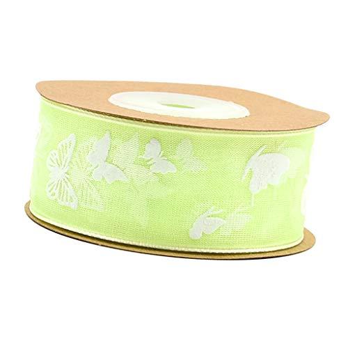 sharprepublic 10 Meter Schmetterling Gedruckt Schiere Chiffon Ribbon Trim Nähen Verschönerung - Hellgrün, 25 mm