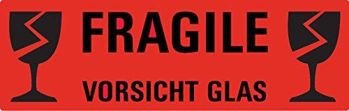 """AVERY Zweckform Hinweisetikett """"Vorsicht Glas"""", 119 x 38 mm"""