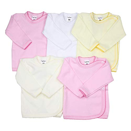 TupTam Unisex Baby Wickelshirt Langarm Baumwolle 5er Pack, Farbe: Mädchen, Größe: 56