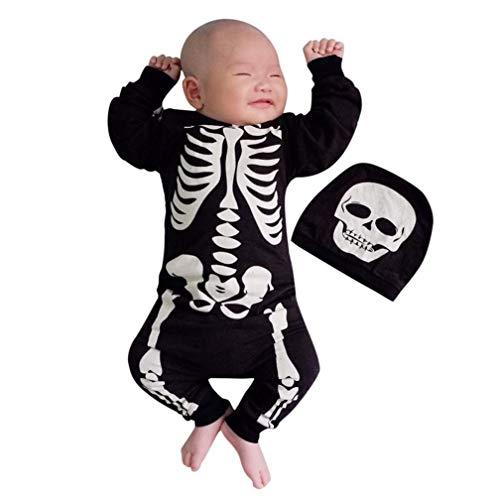 Kleidung, Neugeborene Baby Mädchen Jungen Halloween Knochen Print Romper Jumpsuit + Set Outfits Kleidung (0-6M(70), Schwarz) ()