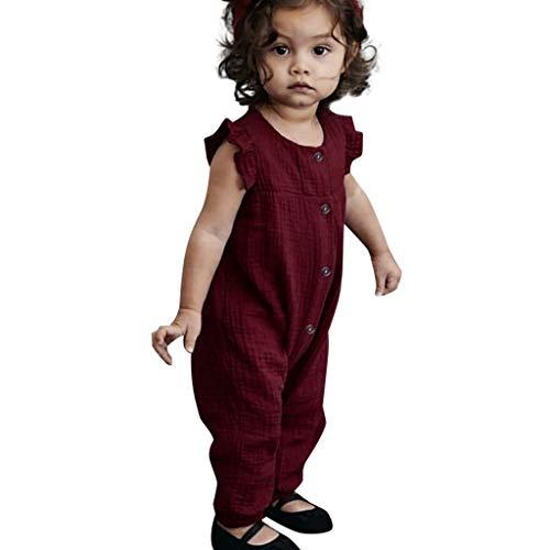 feiXIANG Baby Jumpsuit Overall Solid Rüschen Jumpsuit Kleidung Kinder Spielanzug Mädchen Kleidung Sommer (Wein,80) (Converse Baby-kleidung)