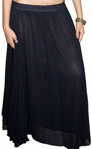 6m Kreis Bauchtanz Tanz Kostüm Rock UK Größe 10-18 - mit Einer Linie innen (schwarz)